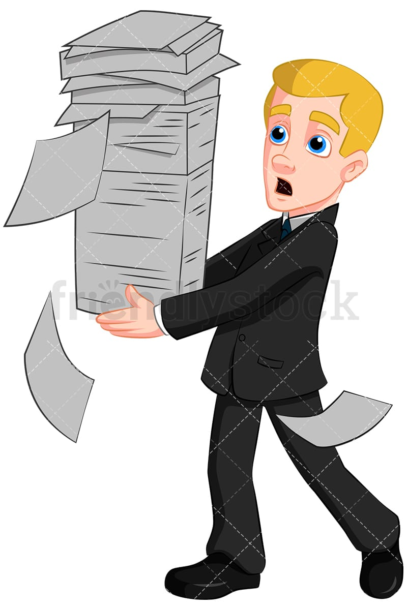 business man carrying paper stack vector cartoon clipart - friendlystock