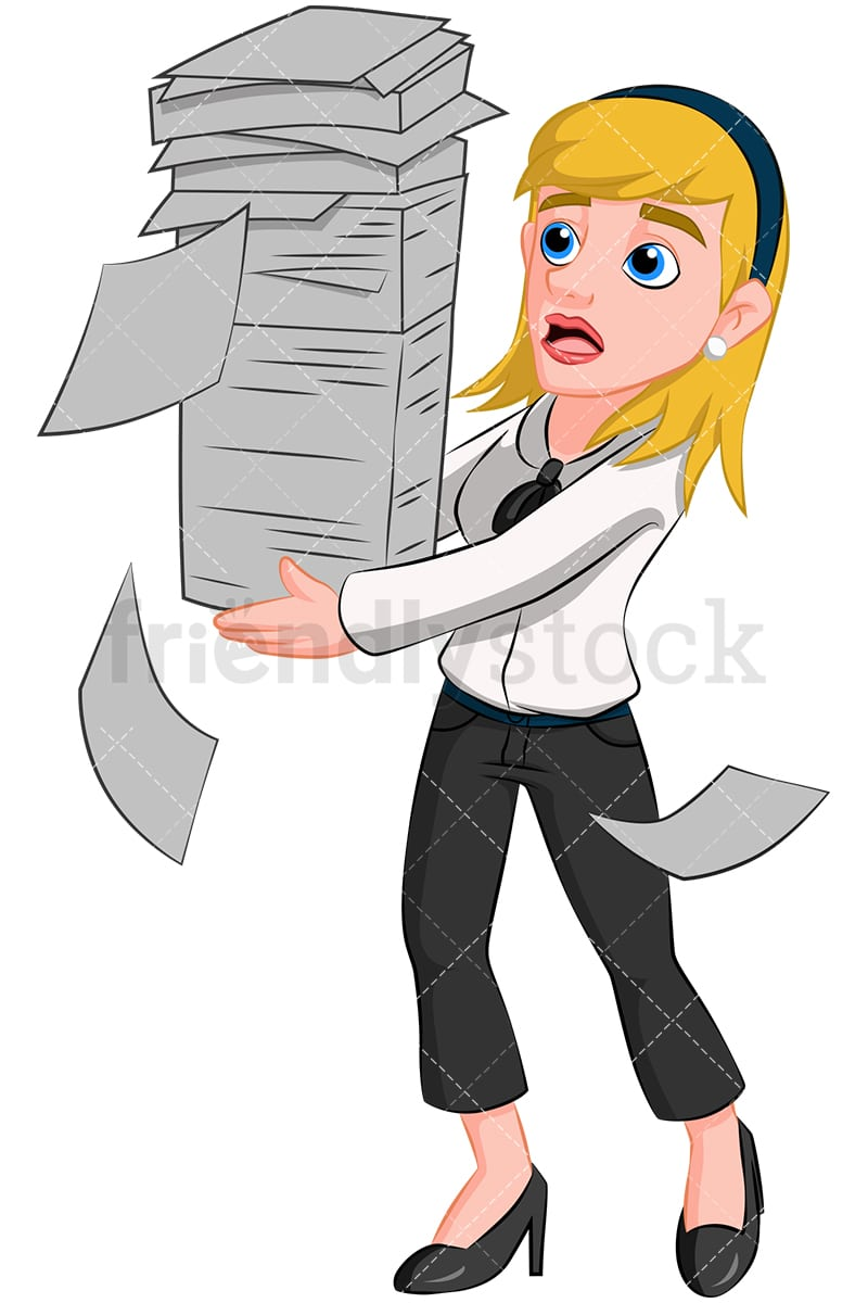 business woman carrying paperwork vector cartoon clipart - friendlystock