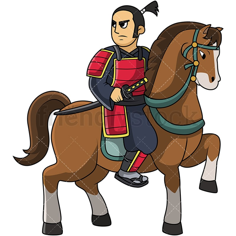 Japanese Knight Samurai On Horse Cartoon Vector Clipart Friendlystock