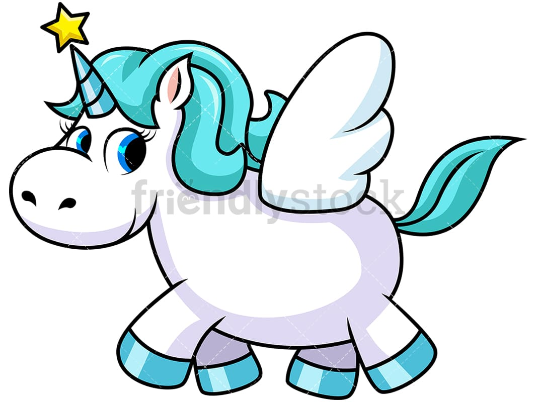 Unicorn With Wings And Star On Horn Vector Cartoon Clipart