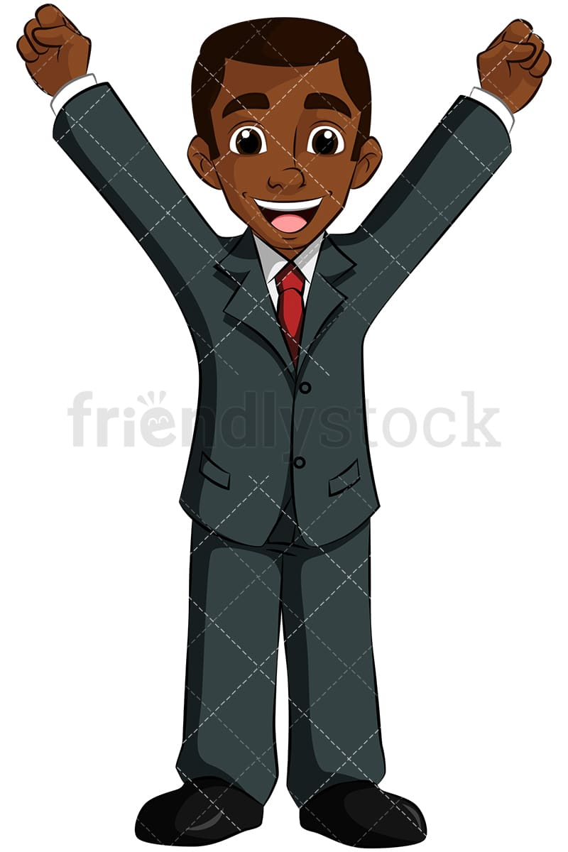 A Black Businessman Raising His Arms In A Victory Cheer