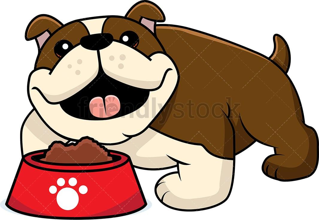 adorable bulldog with a bowl of dog food cartoon vector clipart friendlystock adorable bulldog with a bowl of dog food cartoon vector clipart friendlystock