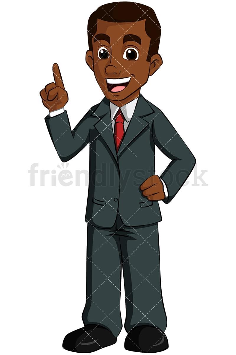 Black Business Man Talking Vector Cartoon Clipart Friendlystock