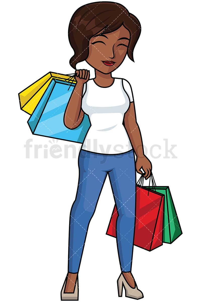 black woman satisfied after shopping vector cartoon clipart rh friendlystock com shopping clip art images shopping clip art pictures