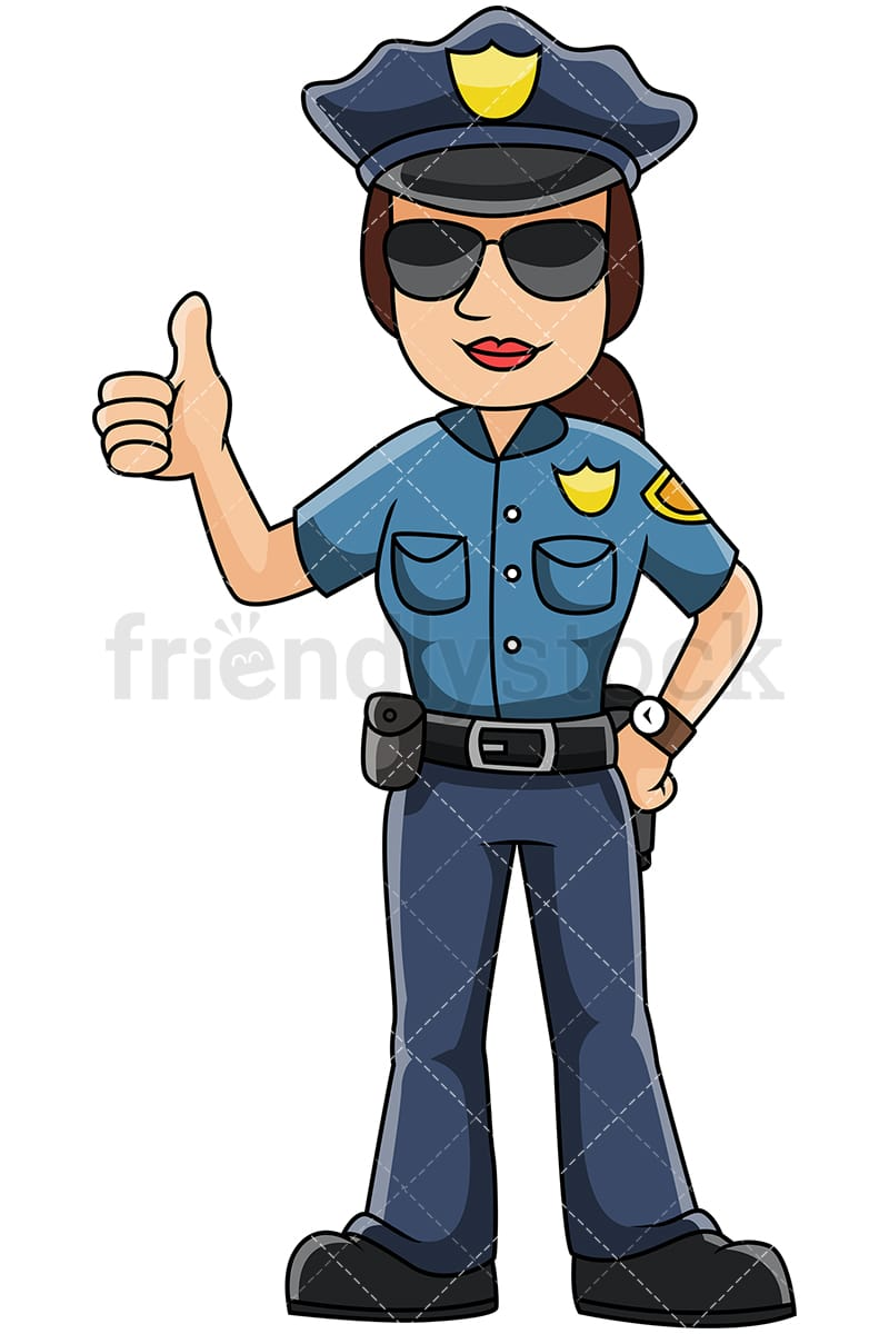 female police officer thumbs up vector cartoon clipart friendlystock rh friendlystock com clipart pictures of police officers free clip art police officer
