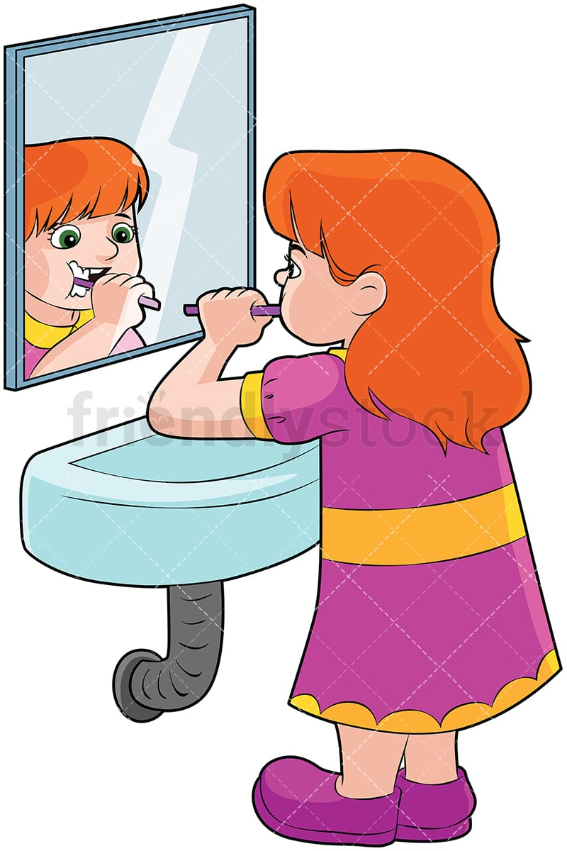 Girl Brushing Teeth In Front Of A Mirror Vector Cartoon Clipart Friendlystock