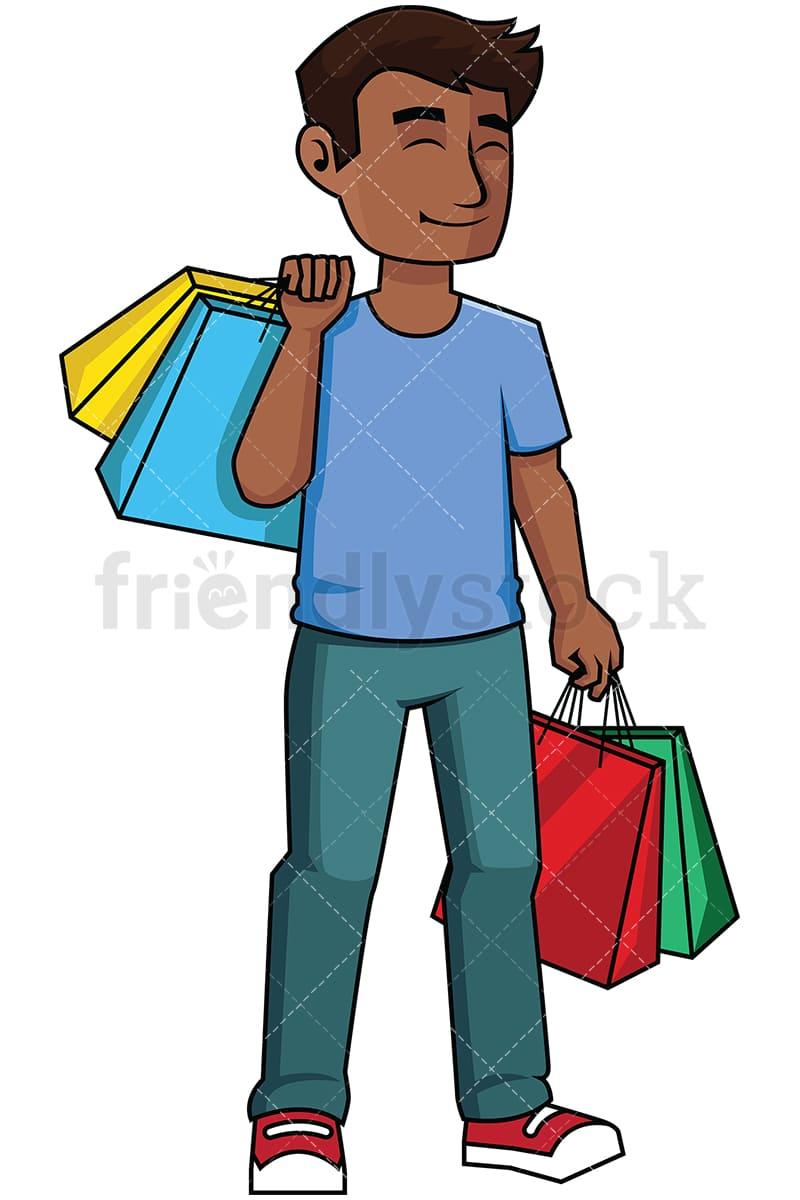 happy black man satisfied after shopping vector cartoon clipart rh friendlystock com