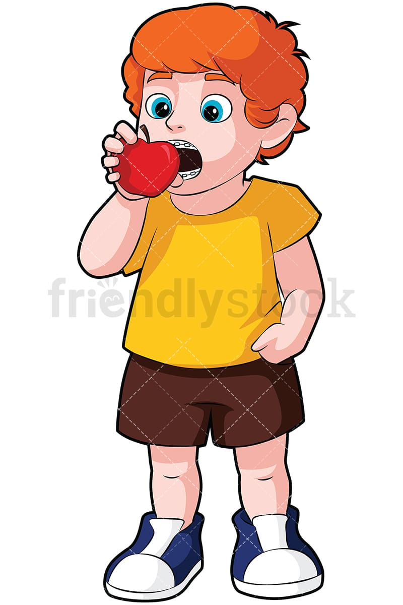 Little Boy With Braces Eating An Apple