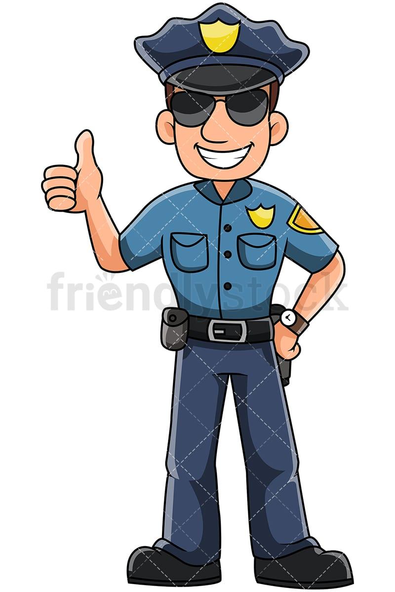 male police officer thumbs up vector cartoon clipart friendlystock rh friendlystock com police clip art sprite strip police clipart car