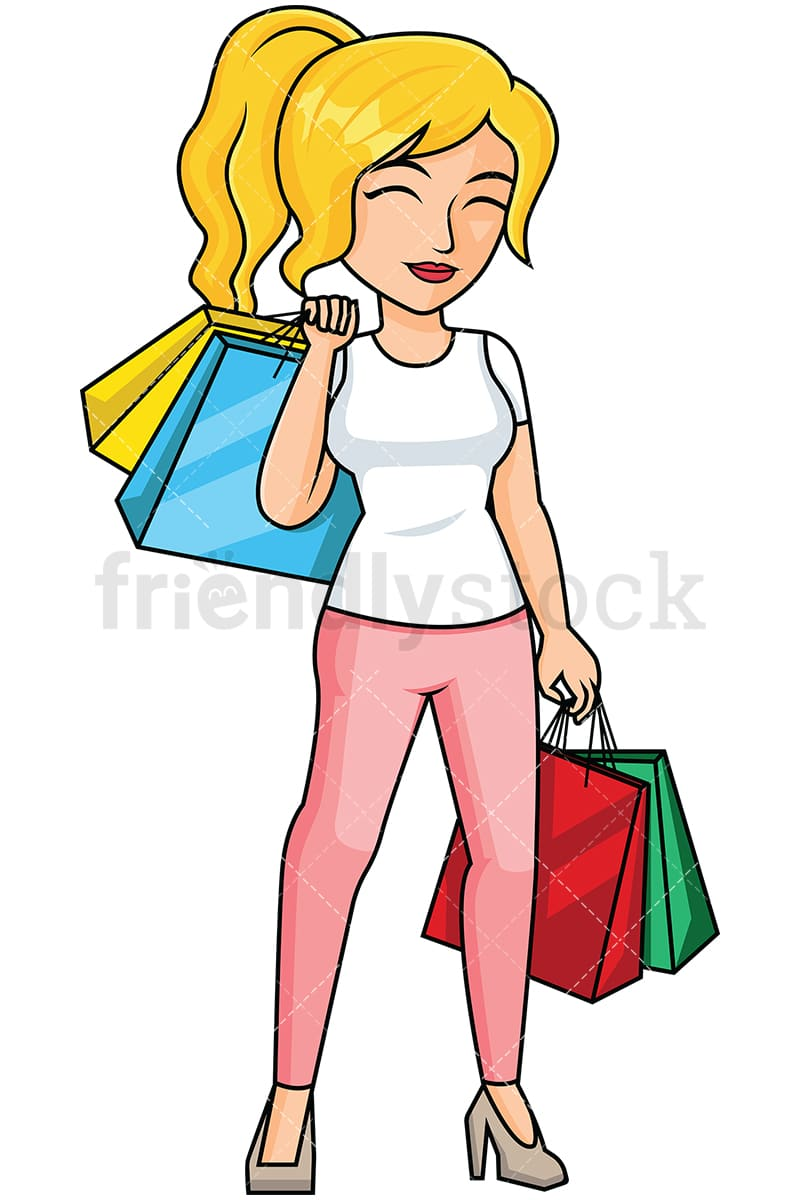 woman after shopping feeling satisfied vector cartoon clipart rh friendlystock com Shopping Clip Art woman grocery shopping clipart