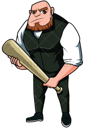 Angry mobster holding bat - Image isolated on transparent background. PNG