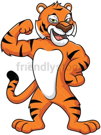 Bengal tiger mascot flexing its muscles - Image isolated on white background. Transparent PNG and vector (infinitely scalable) EPS