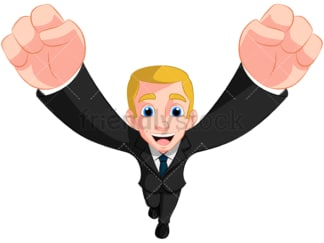 Business man cheering top view - Image isolated on transparent background. PNG