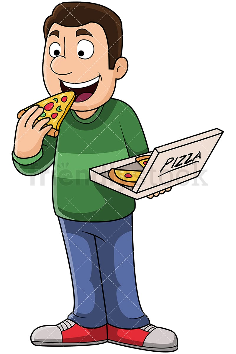 Man eating pizza on the table - Download Free Vectors, Clipart Graphics &  Vector Art