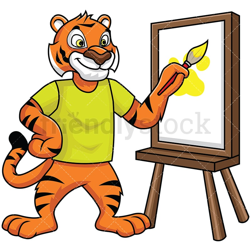 Bengal Tiger Mascot Painting On Canvas Vector Cartoon Clipart