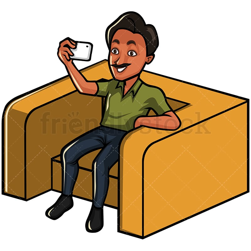 Tremendous Indian Man Taking A Selfie With His Phone While Sitting On An Armchair Squirreltailoven Fun Painted Chair Ideas Images Squirreltailovenorg