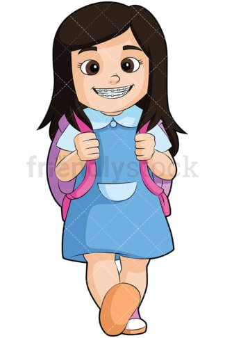 Little girl with braces going to school - Image isolated on transparent background. PNG