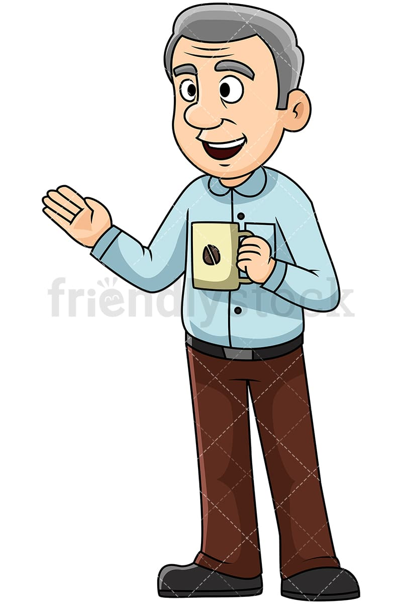 Mature man talking over coffee - Image isolated on transparent background.  PNG