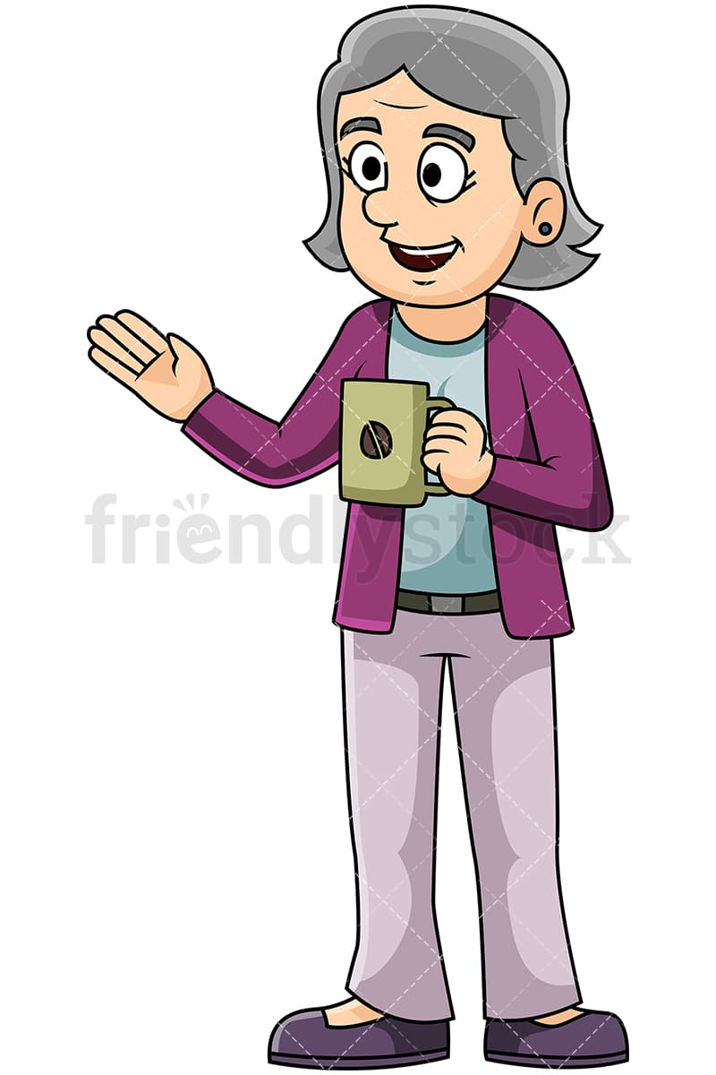 Mature Woman Talking Over Cup Of Coffee Vector Cartoon Clipart