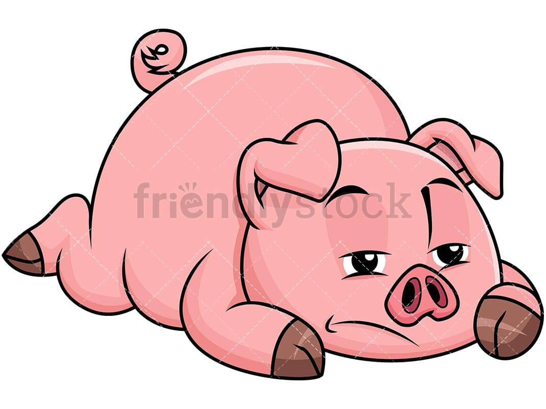 sad pig lying on the ground bored vector cartoon clipart friendlystock rh friendlystock com clipart piggy bank images pig clipart png