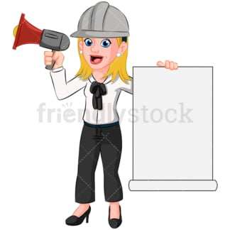 Woman speaking megaphone loud speaker - Image isolated on transparent background. PNG