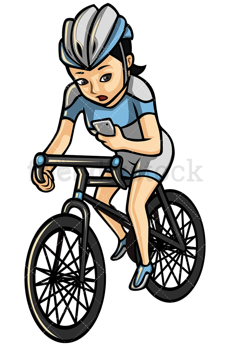 Asian woman texting while riding a bike - Image isolated on white  background. Transparent PNG