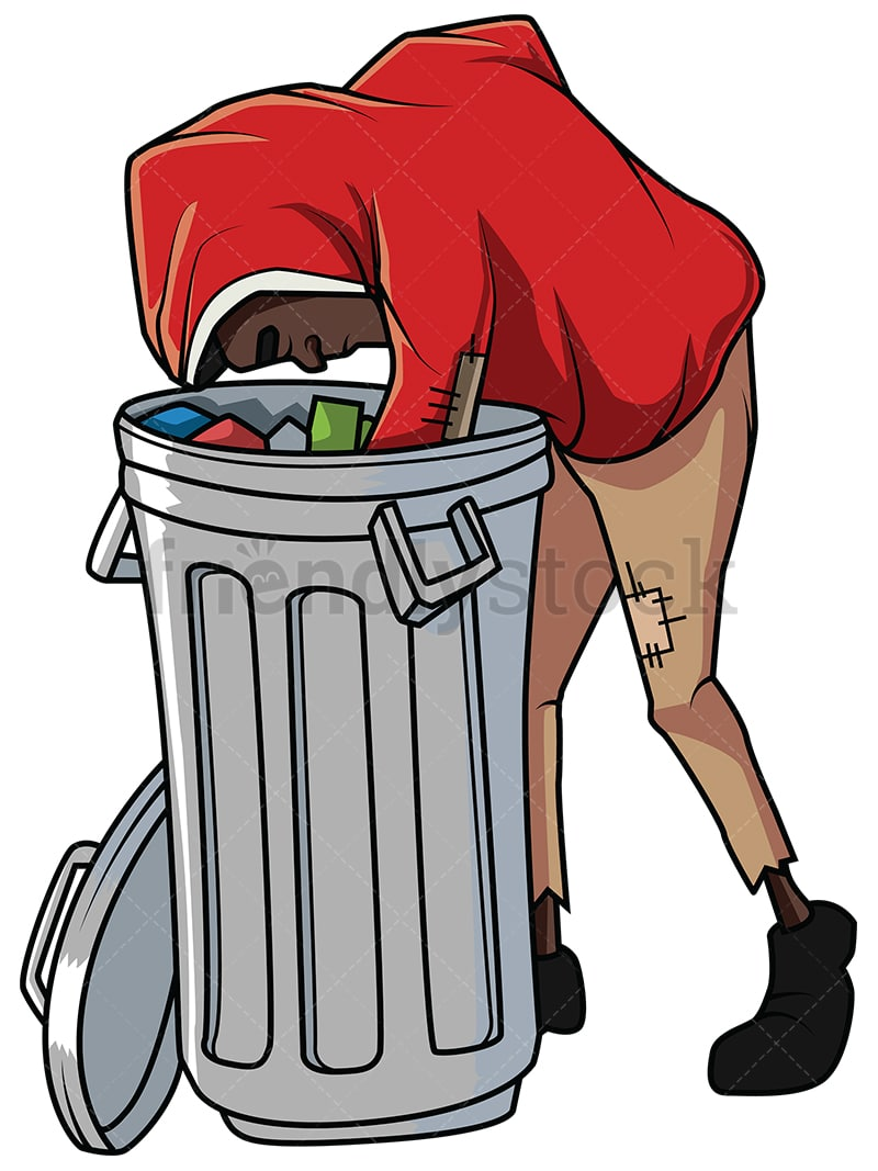 Homeless Black Man Looking For Necessities In Trash Can