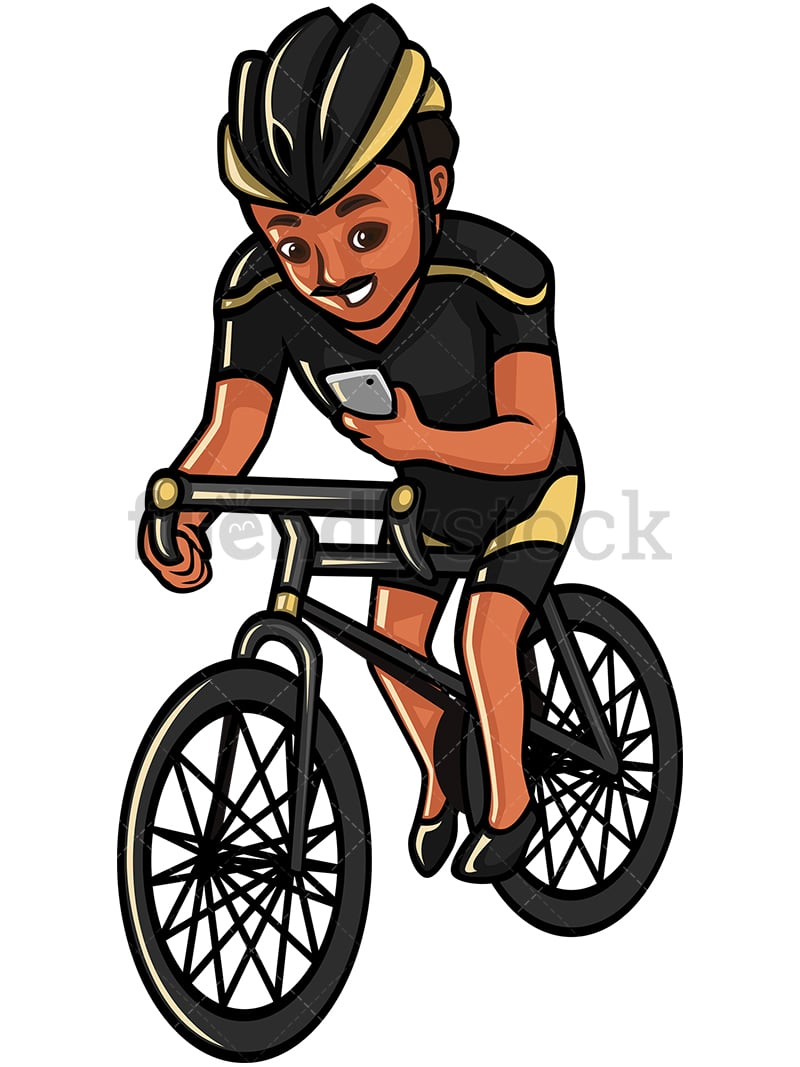 indian man texting while riding a bike vector cartoon clipart