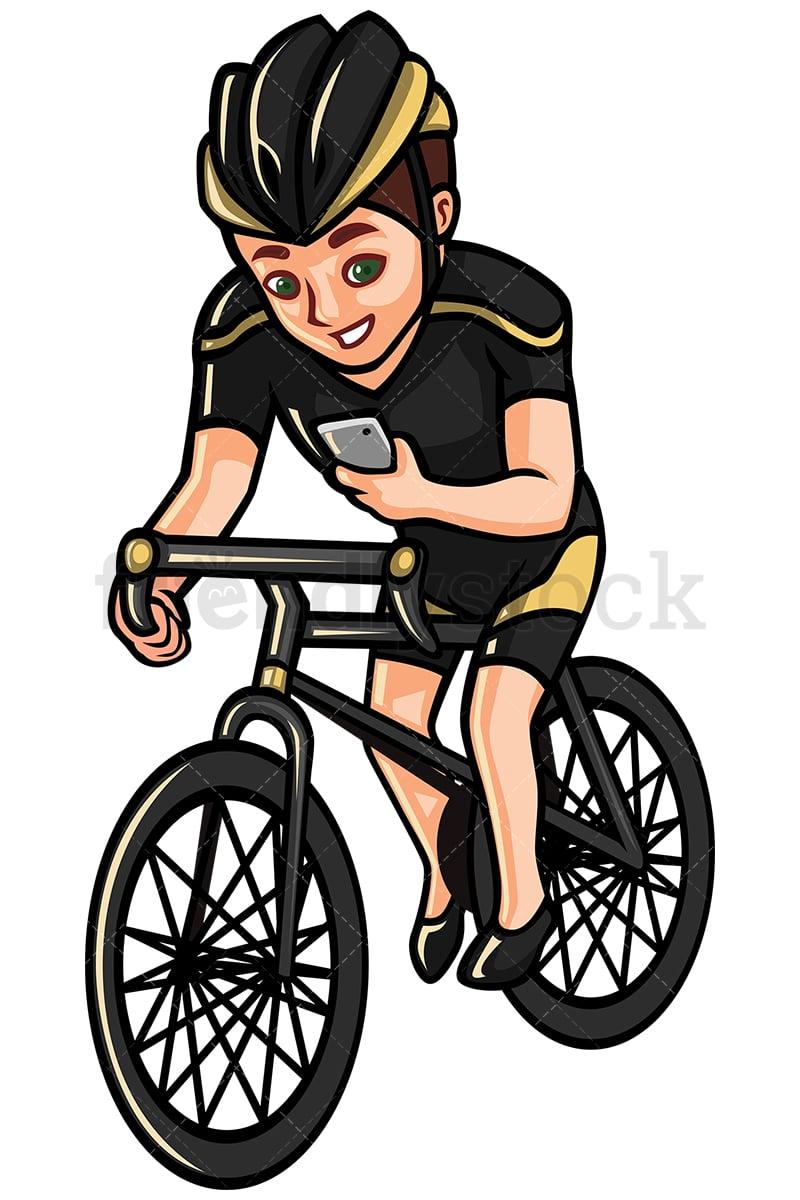 Man Checking His Phone While Riding Bike