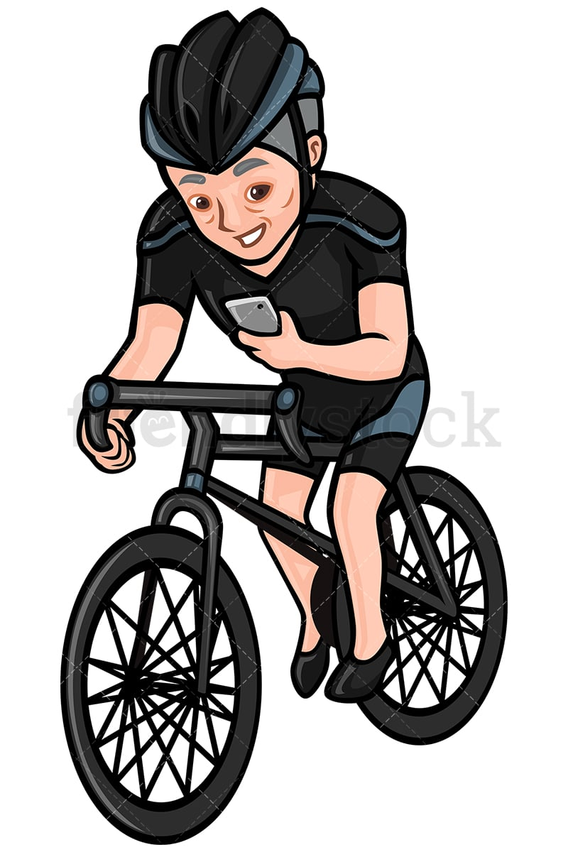 mature man texting while riding a bike vector cartoon clipart
