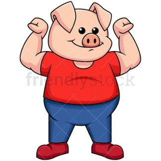 Pig flexing its muscles - Image isolated on transparent background. PNG