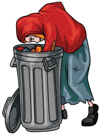 Woman looking for food in trash. PNG - JPG and vector EPS file formats (infinitely scalable). Image isolated on transparent background.