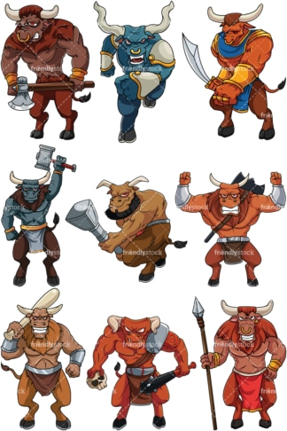 Bulky minotaurs. PNG - JPG and vector EPS file formats (infinitely scalable). Image isolated on transparent background.