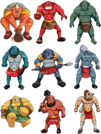Cyclops and ogres. PNG - JPG and vector EPS file formats (infinitely scalable). Image isolated on transparent background.