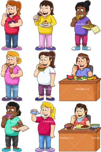 Overweight women eating. PNG - JPG and vector EPS file formats (infinitely scalable). Images isolated on transparent background.