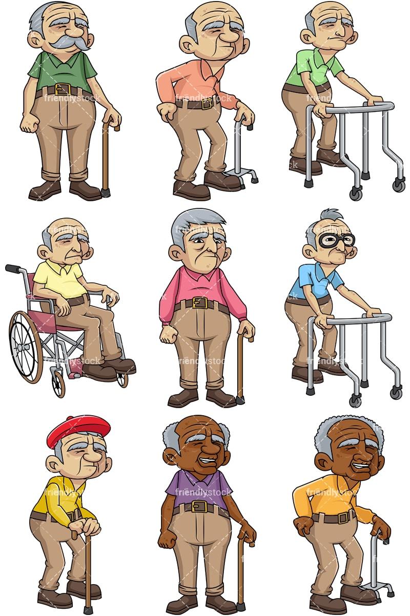 frail male senior citizens cartoon vector clipart friendlystock rh friendlystock com senior citizen discount clipart senior citizen clipart free