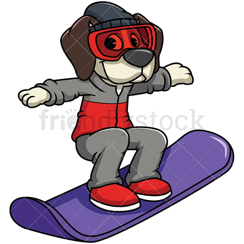 Beagle Dog Snowboarding Cartoon Vector Clipart Friendlystock