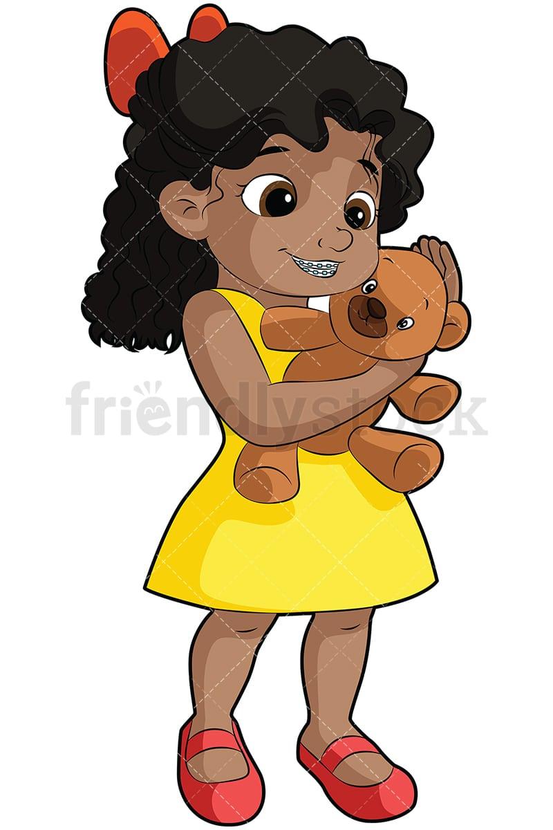 Black Girl With Braces Cartoon Vector Clipart Friendlystock