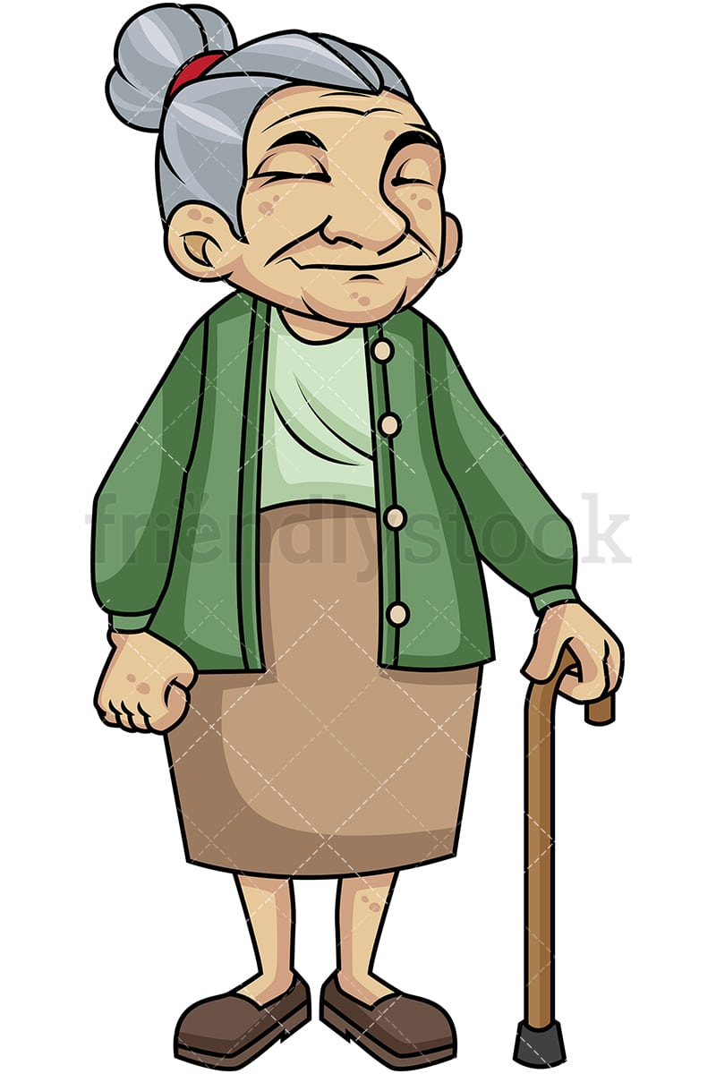 old woman with walking stick cartoon vector clipart friendlystock rh friendlystock com old woman running clipart old woman clip art free