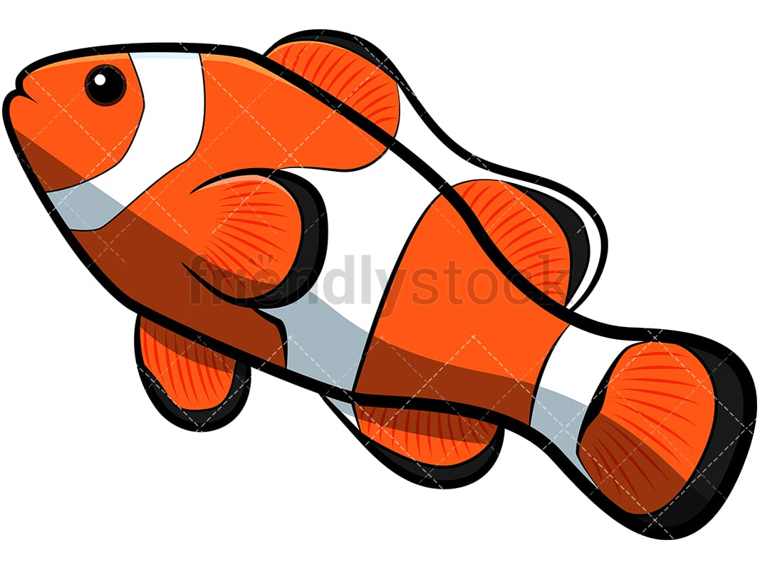 clownfish cartoon vector clipart friendlystock rh friendlystock com Black and White Clownfish Clownfish Coloring Pages