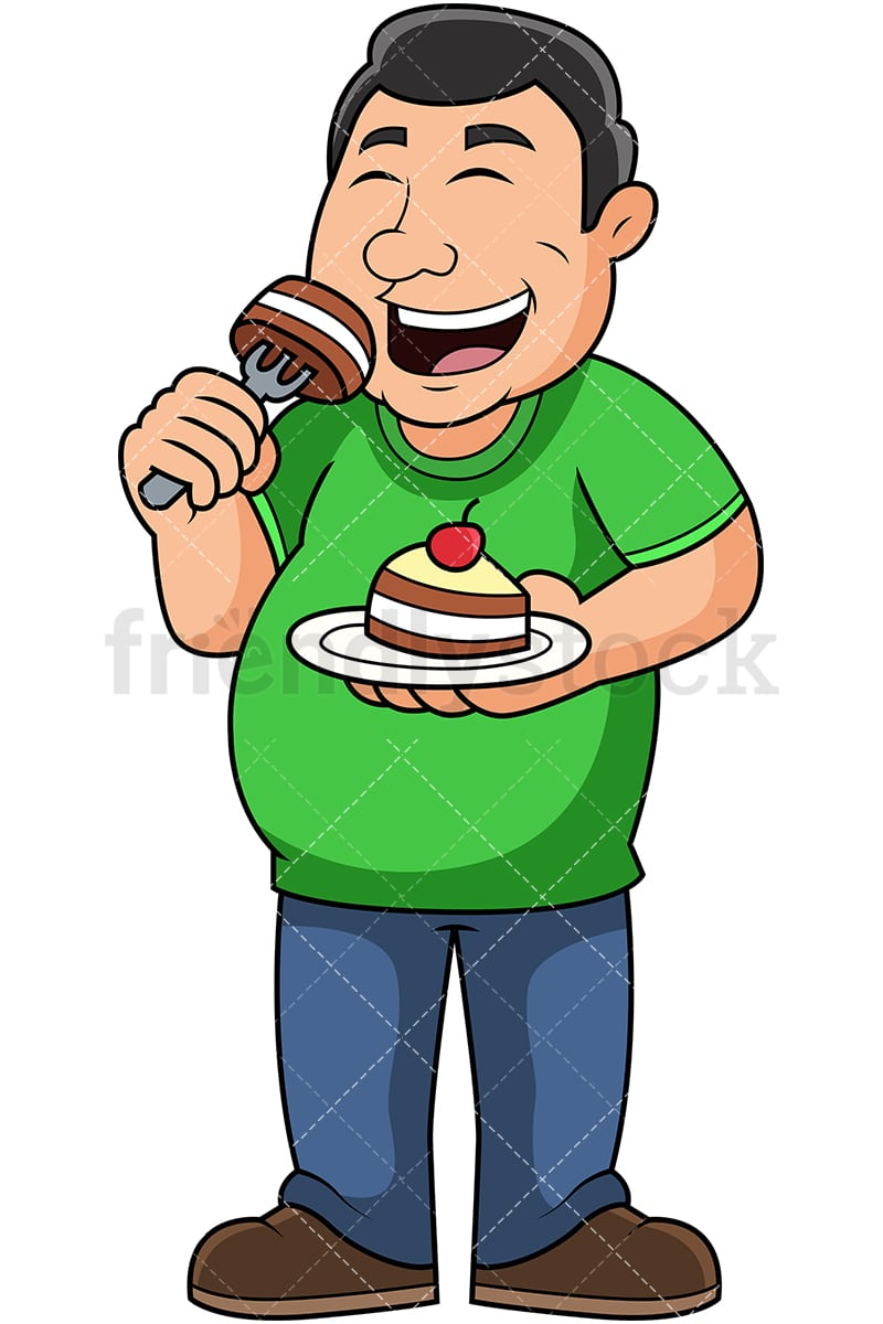fat guy eating cake cartoon vector clipart friendlystock rh friendlystock com Fat Guy Exercising Clip Art Fat Guy Silhouette