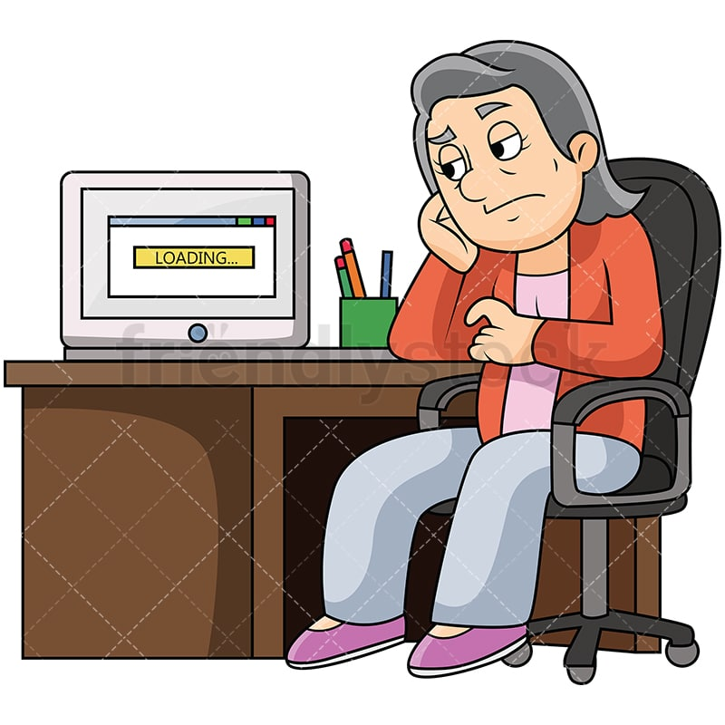 bored old woman slow computer cartoon vector clipart friendlystock