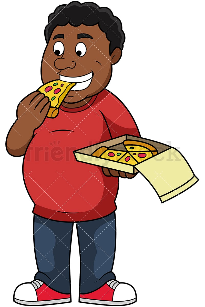 fat black man eating pizza cartoon vector clipart friendlystock rh friendlystock com eating clipart png eating clipart black and white