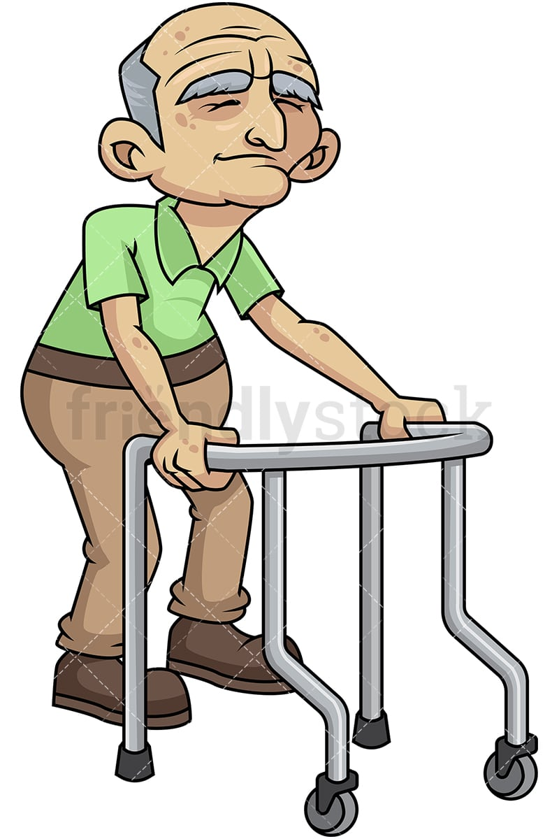 frail old man with walker cartoon vector clipart friendlystock rh friendlystock com old man clip art face old man clip art face