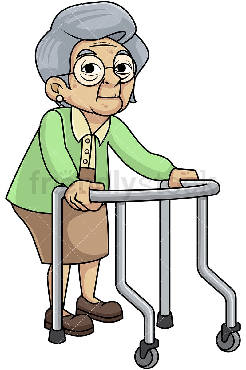 frail old woman with walker cartoon vector clipart friendlystock rh friendlystock com old woman clipart black and white funny old woman clipart