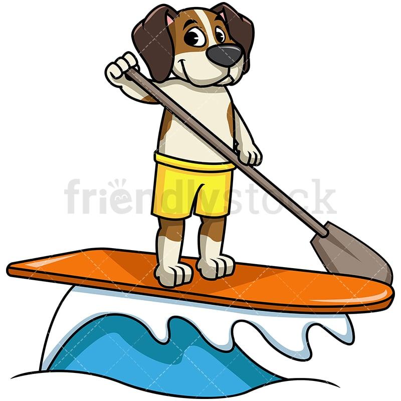 Beagle Dog Stand Up Paddling PNG