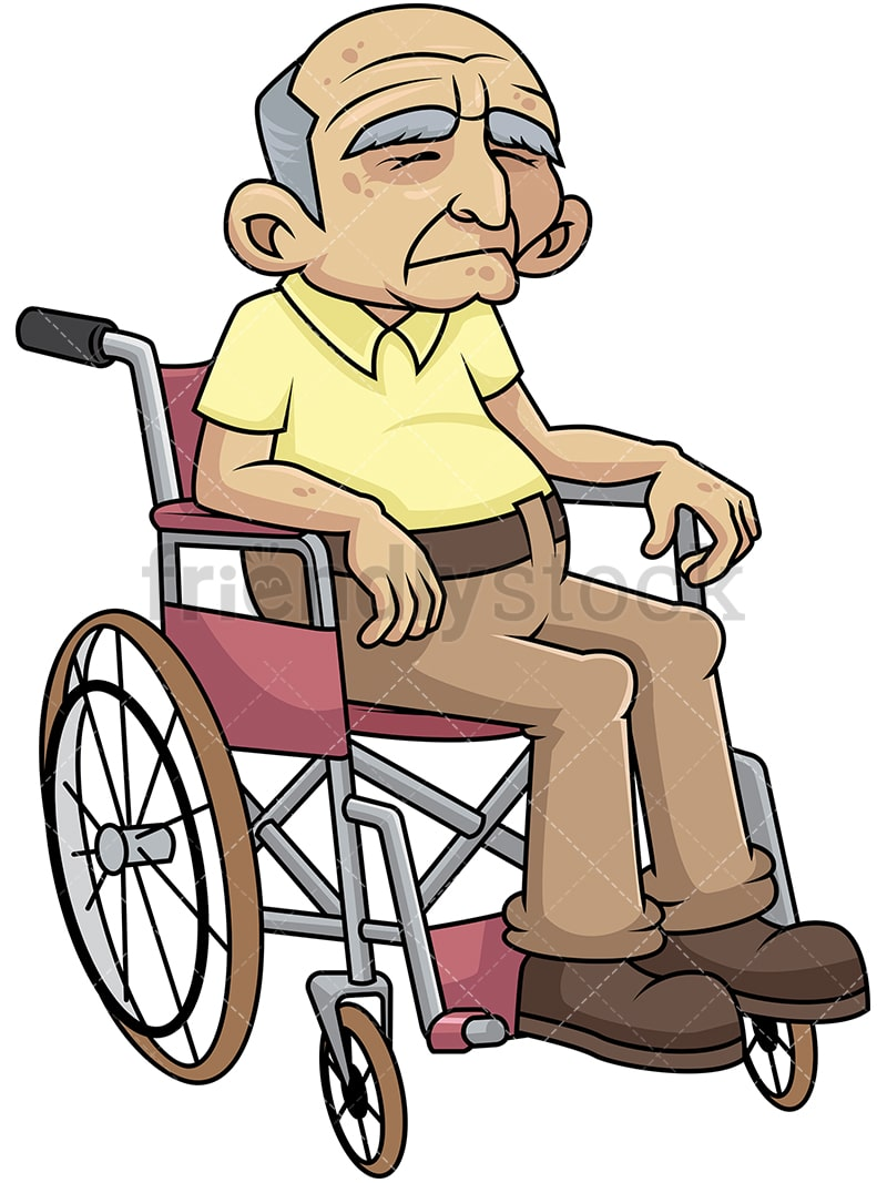 disabled old man in wheelchair cartoon vector clipart friendlystock rh friendlystock com
