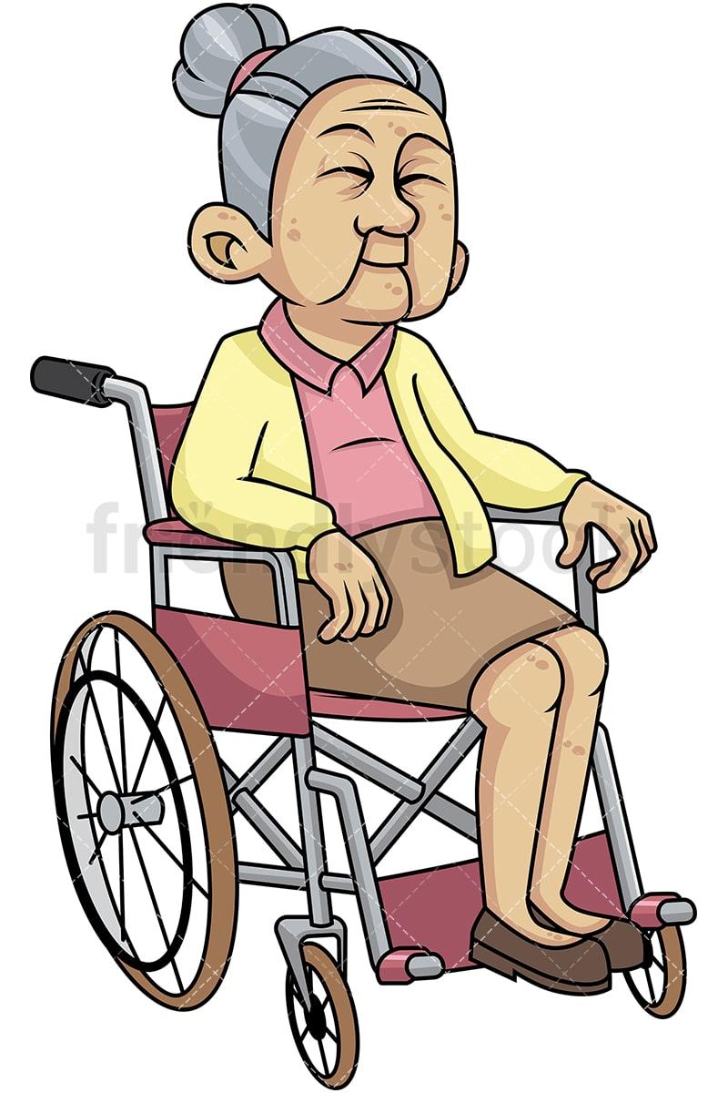 disabled old woman in wheelchair cartoon vector clipart friendlystock rh friendlystock com old woman clipart free old woman clipart free