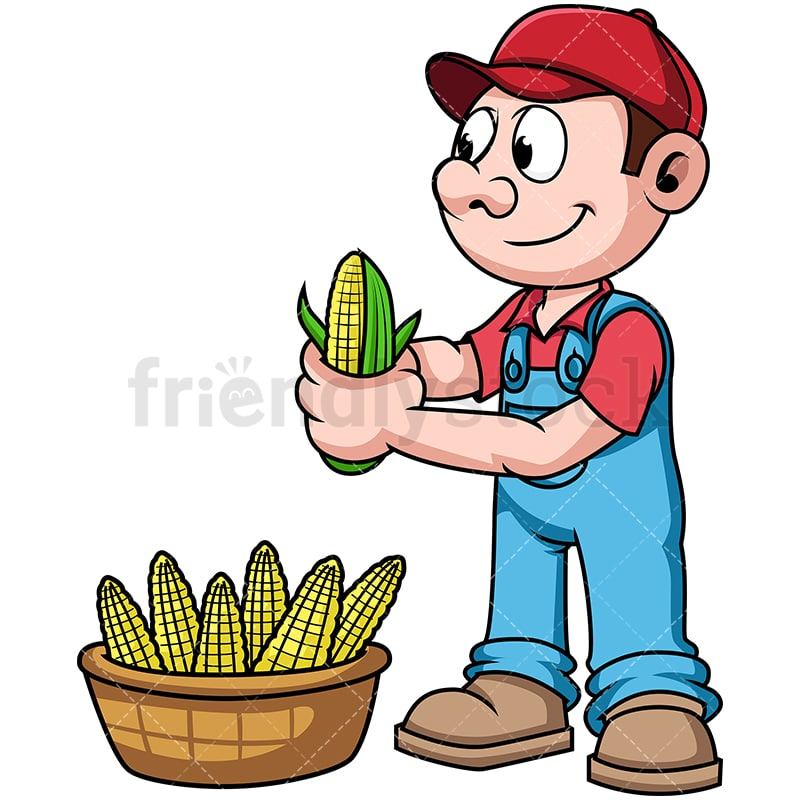 farmer harvesting corn cartoon vector clipart friendlystock rh friendlystock com farmer clipart pictures farmer clipart png