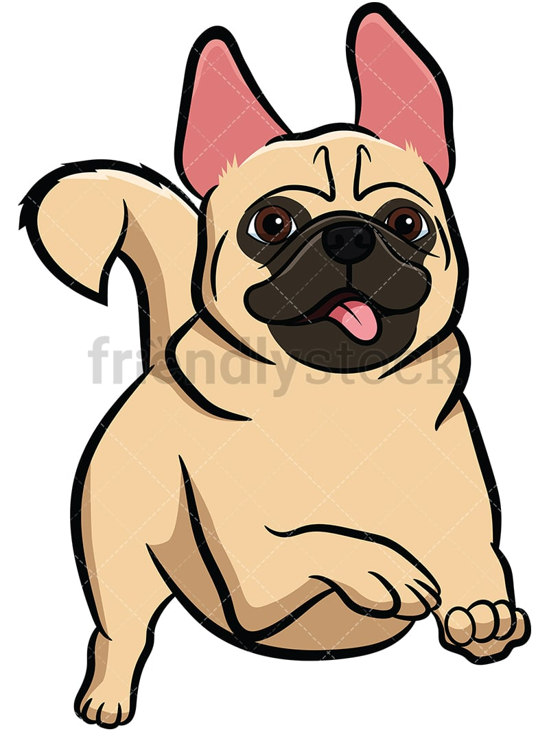 apricot pug dog running cartoon vector clipart friendlystock rh friendlystock com dog running cartoon dog running cartoon